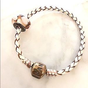 Pandora Braided Leather Heart Bracelet